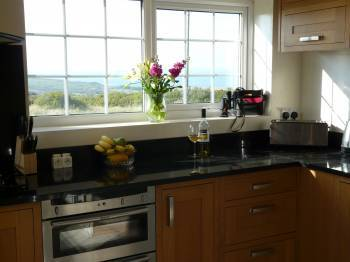 Oak kitchen with stunning sea views